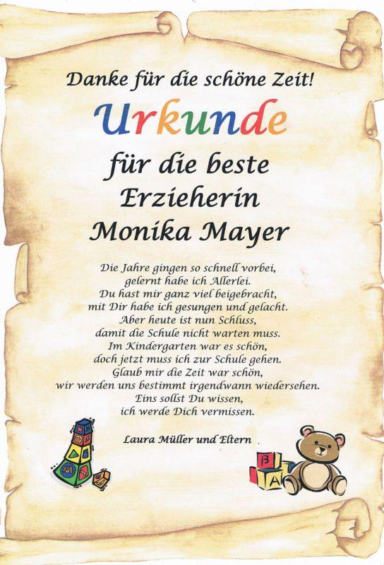 Urkunde Abschied Kindergarten Erzieherin Danksagung Persnliches