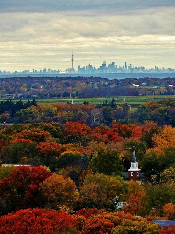 Lewiston NY overlooking Toronto skyline In an Autumn