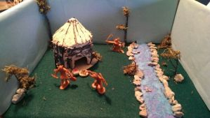 DioramaCherokee Indian diorama project 3rd Grade Used sticks and airdry clay for house