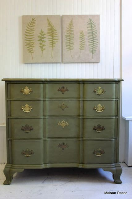 Olive Chalk Paint With Gilding Wax Refinishing Furniture
