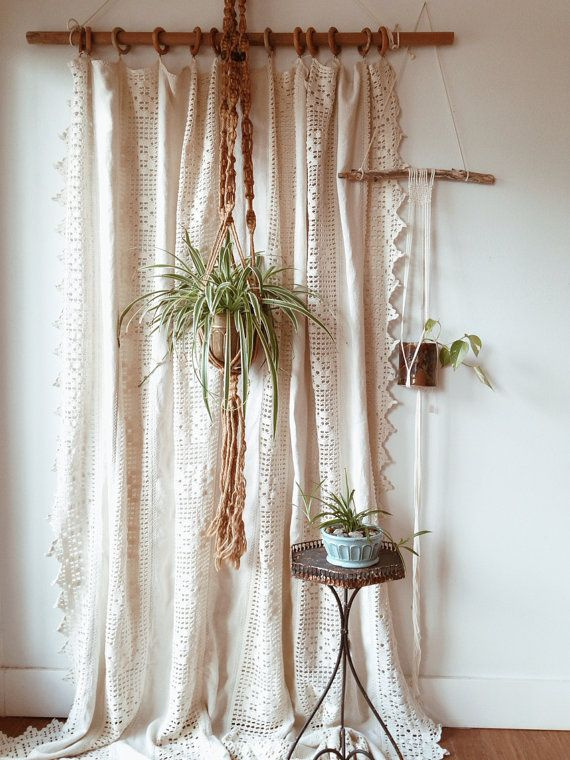 Vintage Homespun Linen and Cotton Crochet Window by ethanollie, $225.00