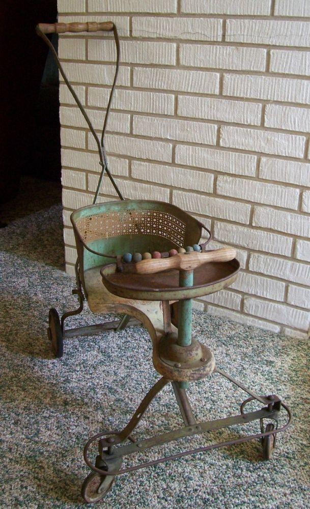 Antique 1940s Metal and Wood Baby StrollerWalker. Shabby