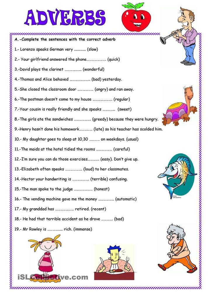 Adverbs Worksheet