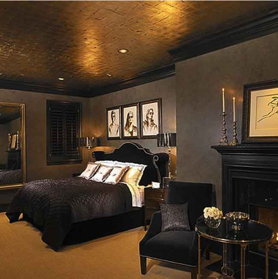 Dark Bedroom Walls With Gold Trim Google Search Notre