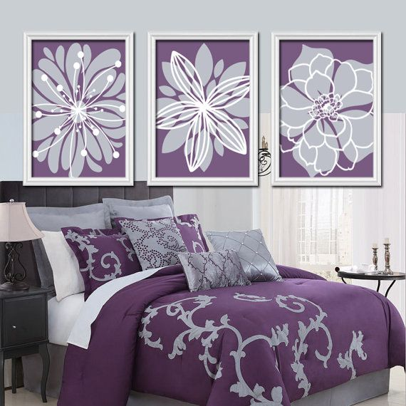 Purple Flower Wall Art Burst Baby Nursery Bedroom Pictures Artwork Set Of 3 Canvas Or Prints