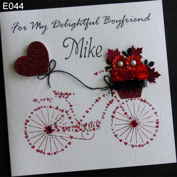 Handmade card greeting personalised bike love Handmade