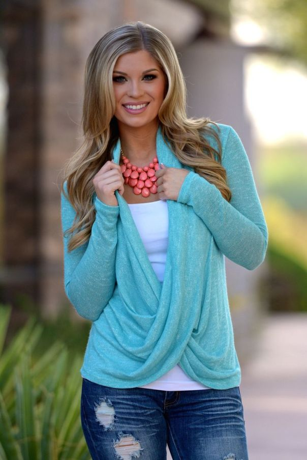 """Cross Over Sweater - Knit - Mint from Closet Candy Boutique - - - - - Promo code """"repashley"""" for 10% OFF + FREE shipping!!:"""