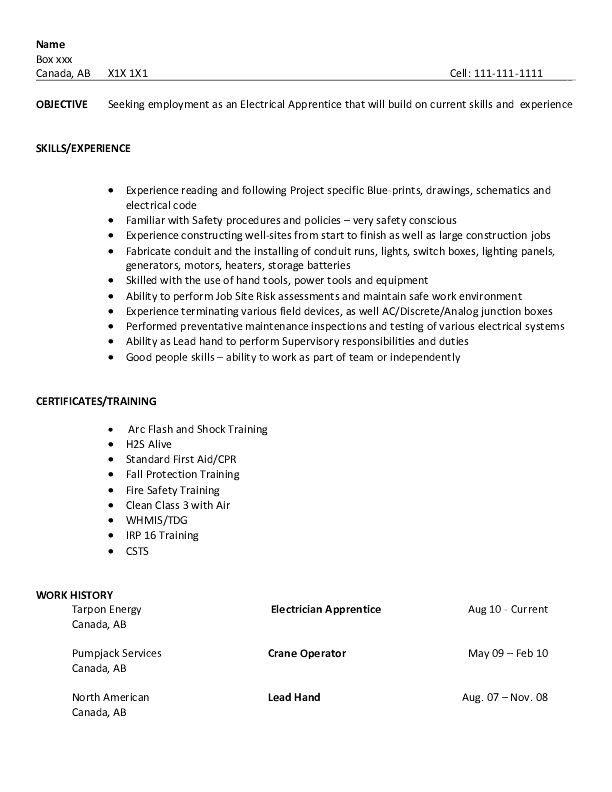 apprentice electrician resume sample my perfect resume apprentice