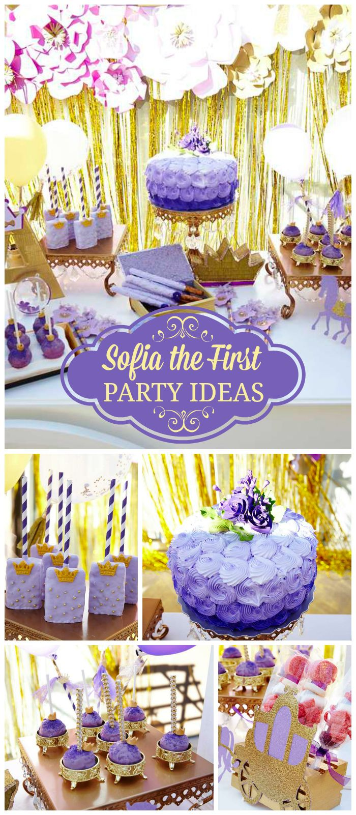 A purple and gold Sofia the First girl birthday party with big paper flowers and a sweet cart with royal treats! See more party