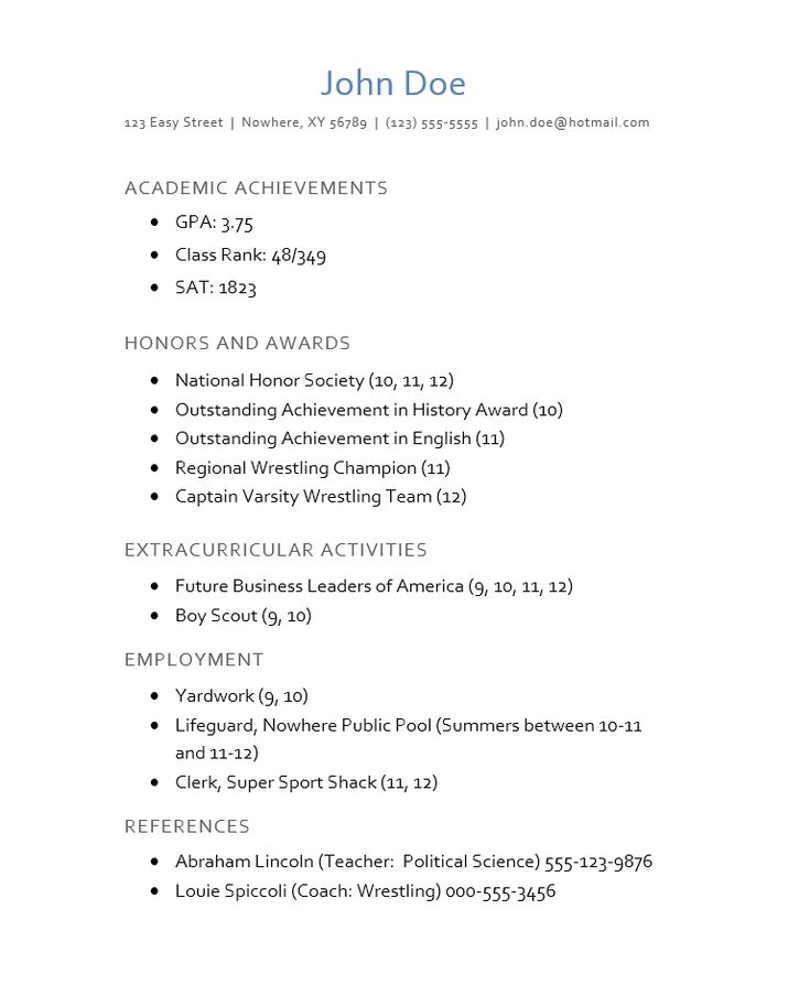 Example College Application Resume Template. Resume College