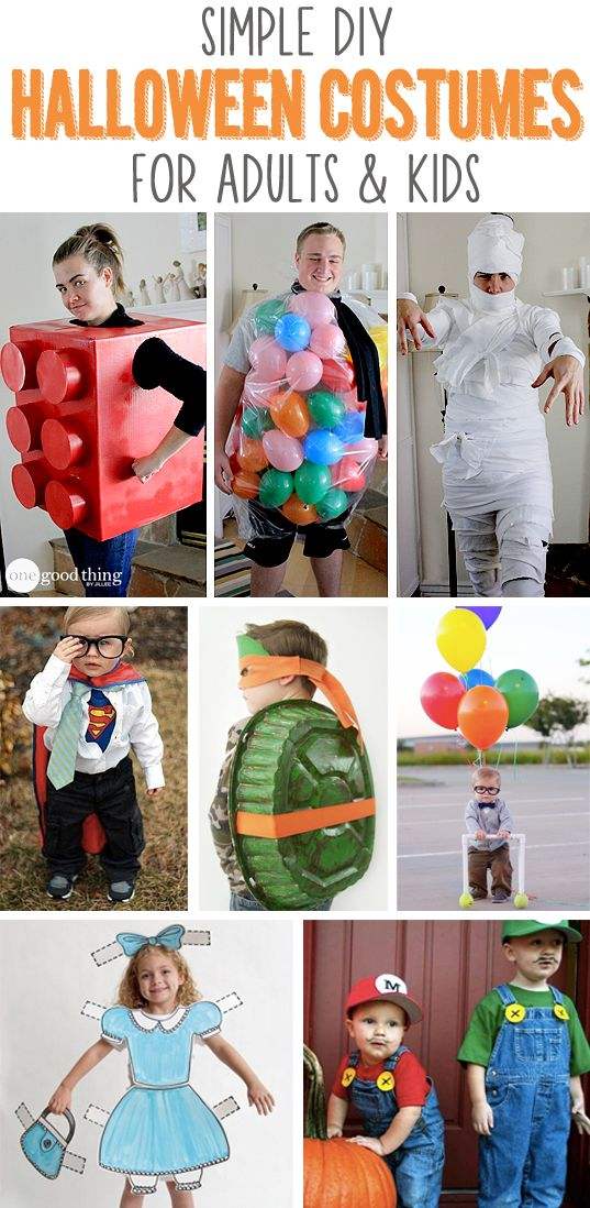 Simple DIY Halloween Costumes For Adults & Kids Costumes