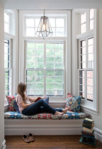 Window Seat In Bay Window On Second Floor Of A Federal Row