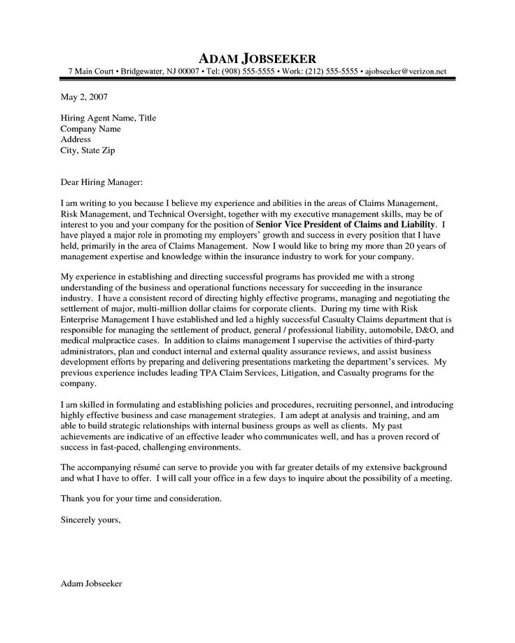 Resume Example Insurance Executive Example Of A Cover Letter Example Of A Cover Letter For