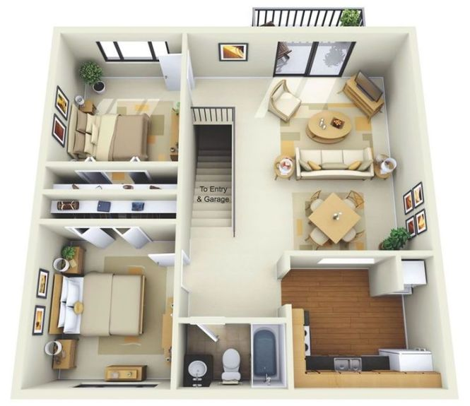 50 Two 2 Bedroom Apartment House Plans