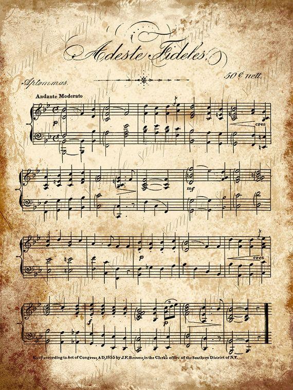 Grungy Aged Vintage Christmas Carol Music Digital