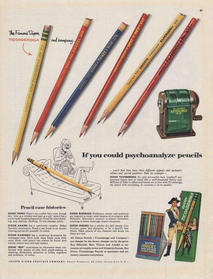 Neat Vintage 1953 DIXON TICONDEROGA COLORED PENCILS Print