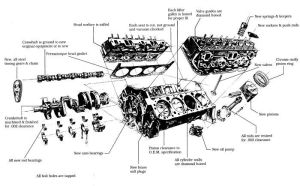 Exploded view of a Chevy small block   Inside Stuff   Pinterest   Chevy, Engine and Poster