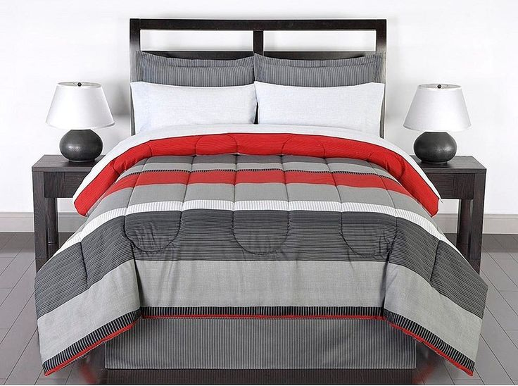 Black Gray Red Stripes Boys Teen Full