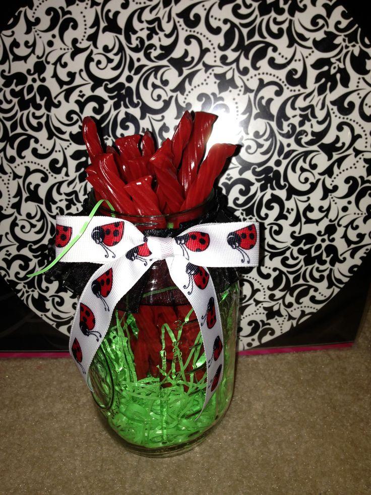 Twizzler Filled Mason Jars With Ladybug Ribbon Delicious