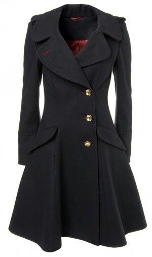 I'm in love with this coat! Or at least, the cut of it. I have a trench coat already, but I would love to have a princess-cut one like this, in a nice, bright color!: