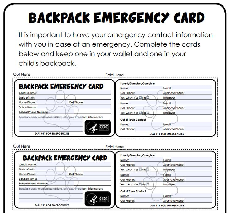 Backpack emergency cards from the CDC. Emergency