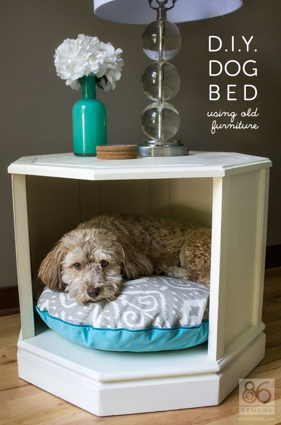 Heres a dog bed made from old side table. Check your local ReStore for side tables to inspire your re-purposing projects!