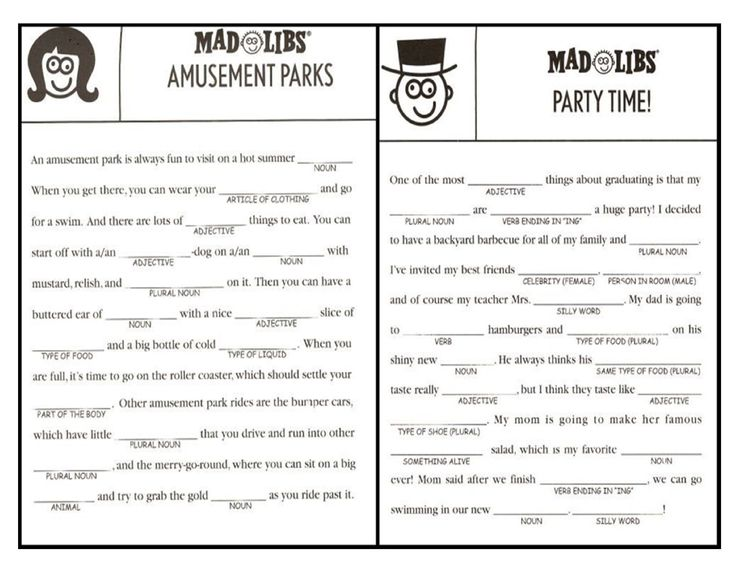 This is a picture of Adaptable Printable Mad Libs for Teens