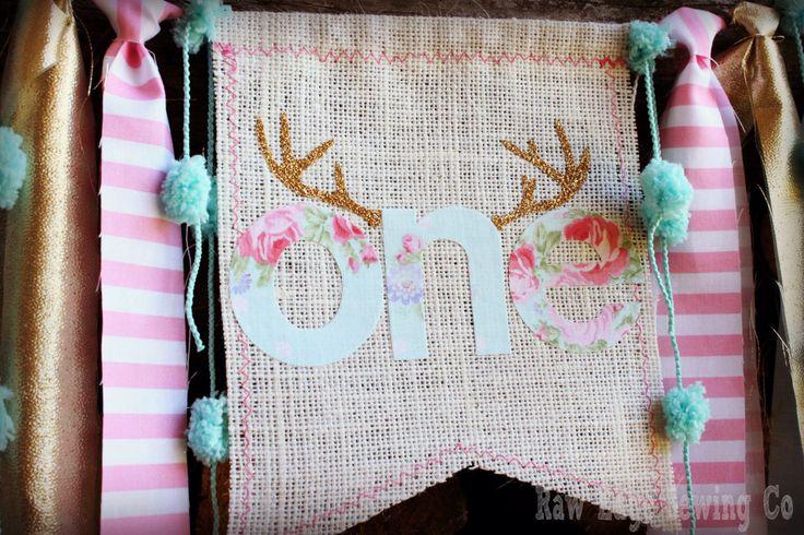Pink Gold Aqua Deer Antlers High Chair Highchair Birthday