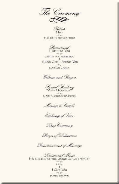 Wedding Program Templates Order Of Ceremony Casual And Intimate Wedding Details Pinterest