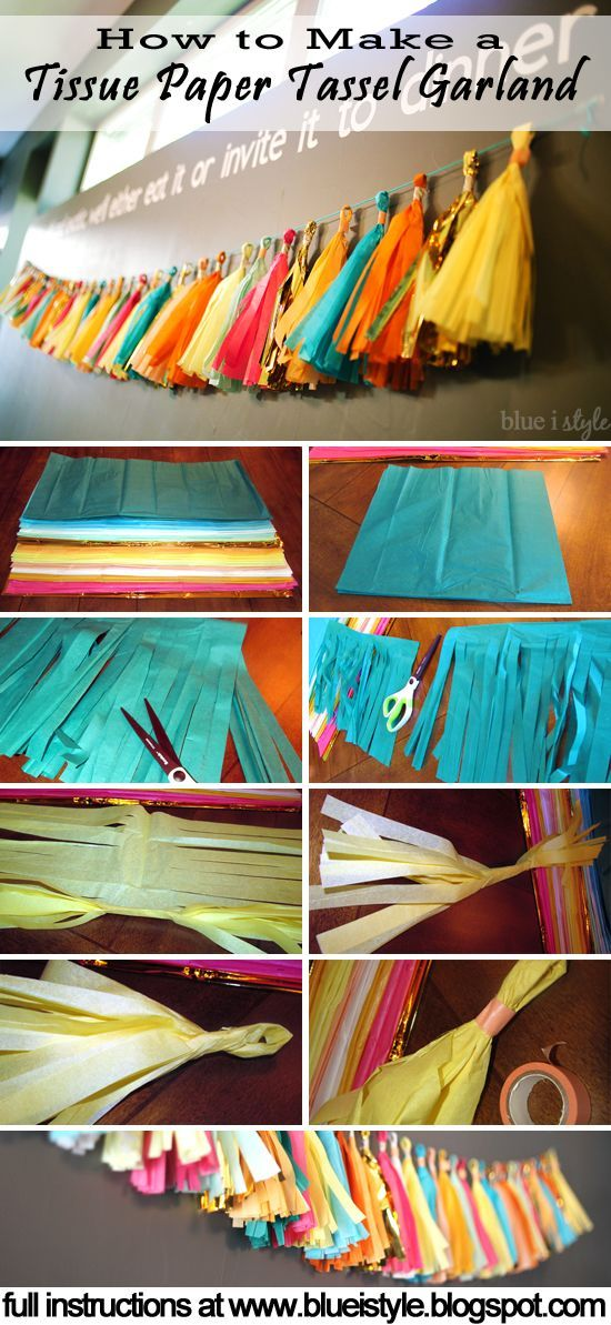 Simple tutorial for making a Tissue Paper Tassel Garland! Makes gorgeous decor for a bridal or baby shower, a birthday party, or