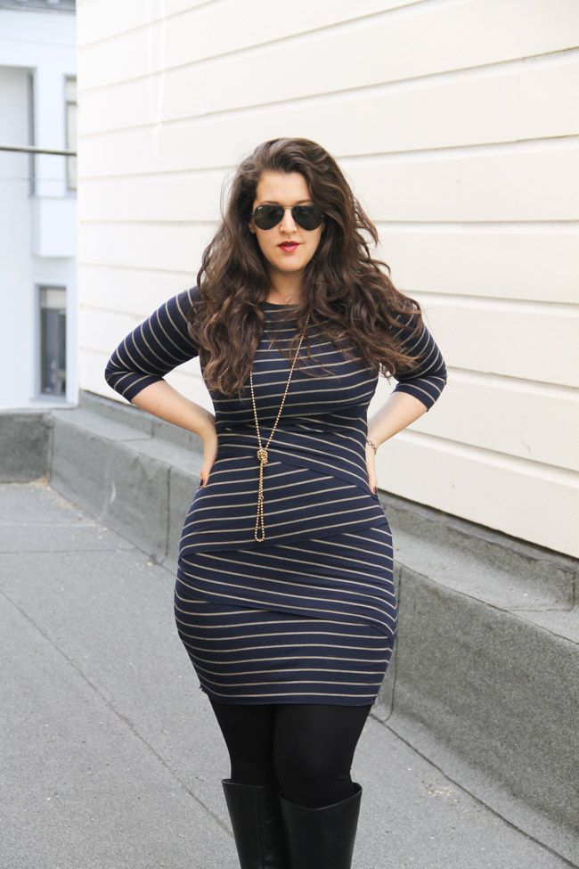 Fitted striped dress with high boot