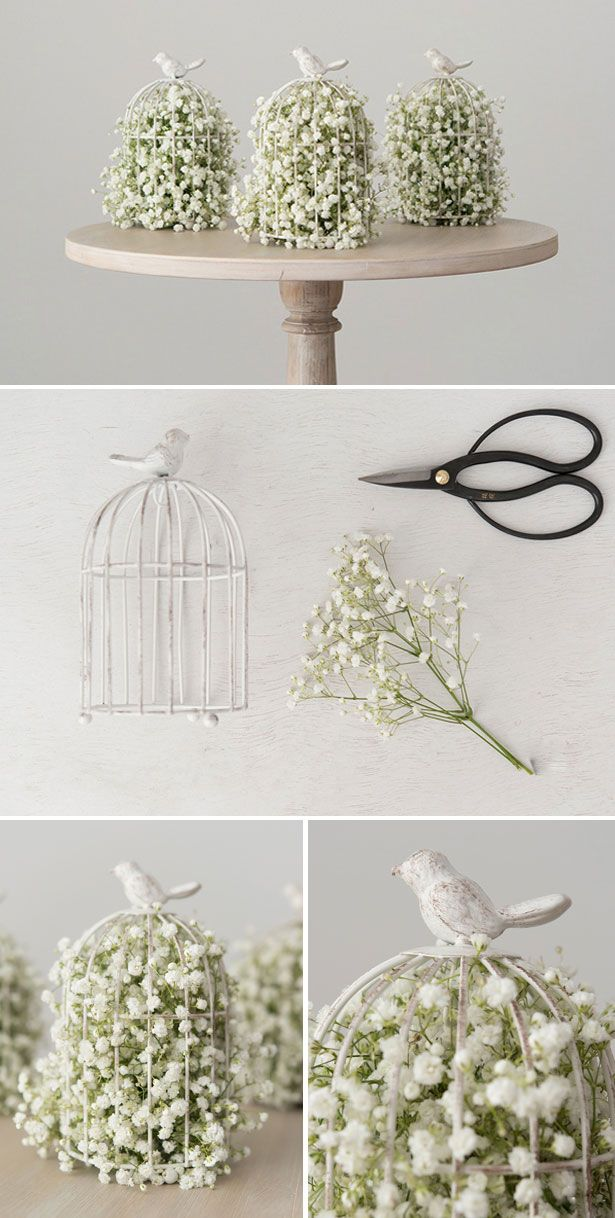 Birdcage DIY con la respiración pieza central del bebé | Confetti.co.uk | Vintage, bridecage, decoración | #wedding