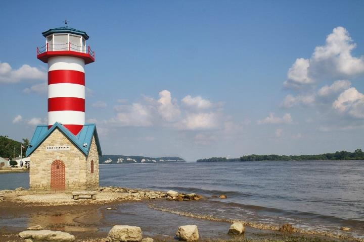 Grafton il lighthouse with some high water around it