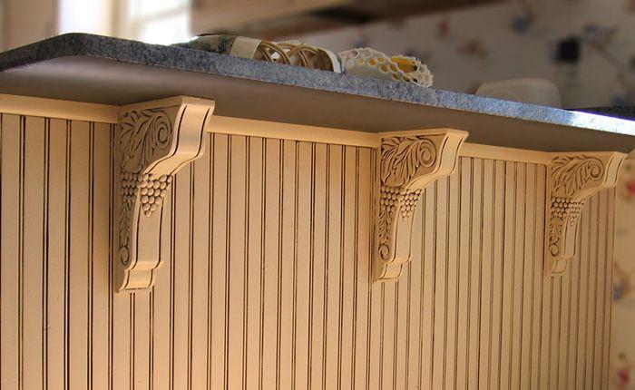 Wood Brackets With Carved Grape Design Under Kitchen Counter Corbels Brackets Woodbrackets