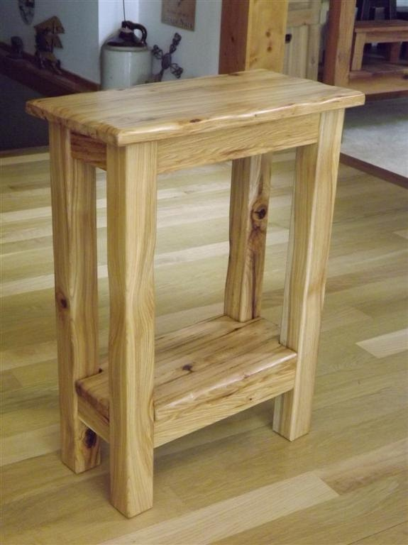 Reclaimed Wood Small Side Table Rustic Solid Hickory
