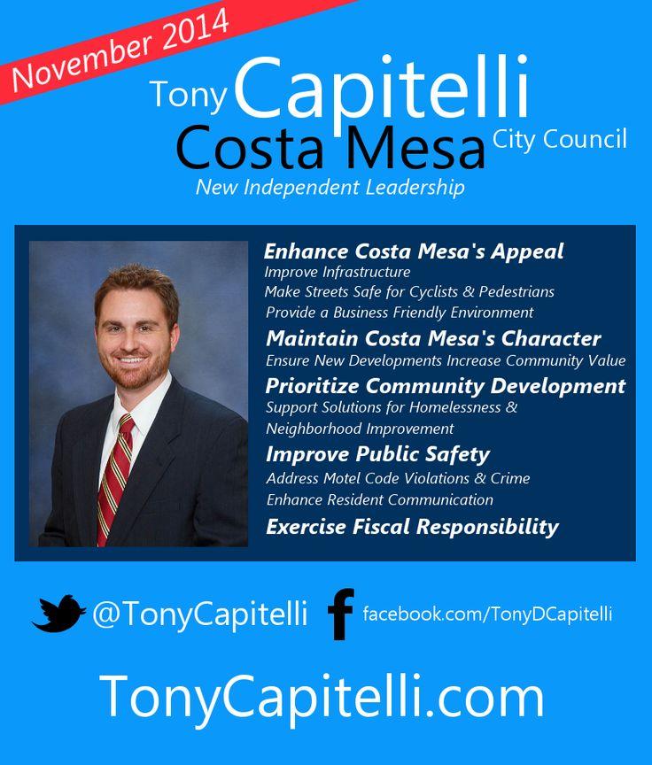 Capitelli for costa mesa city council campaign flyer