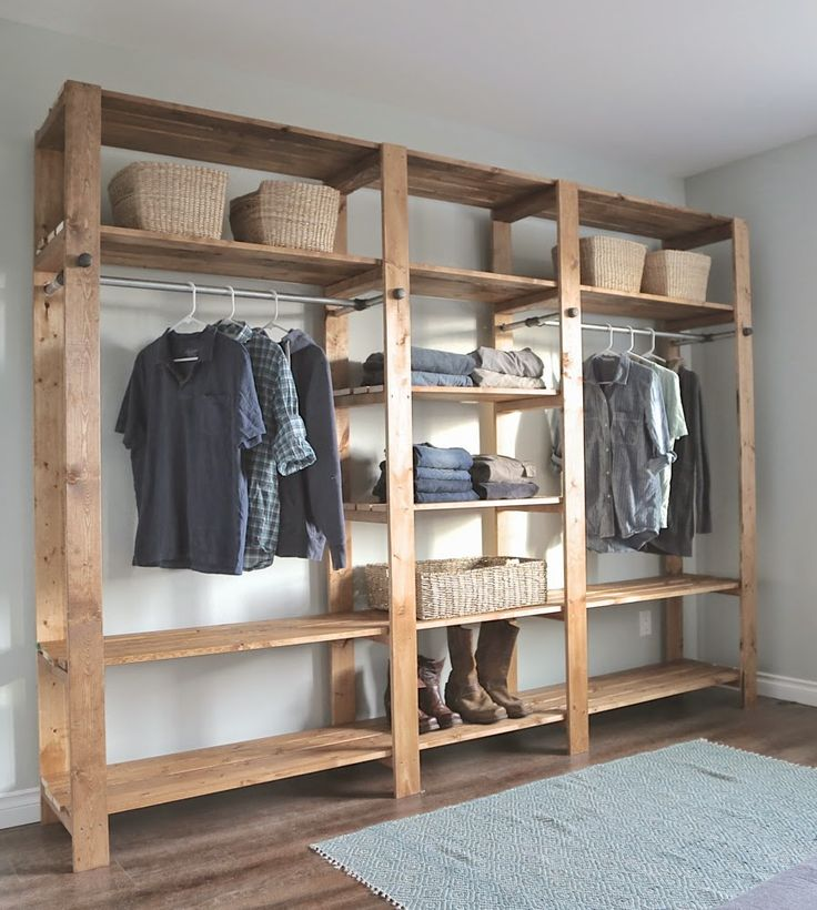 Ana White | Build a Industrial Style Wood Slat Closet System with Galvanized Pipes