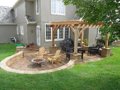 "Backyard Landscape design. I like the whole ""sunken"" design for patios. The inte"