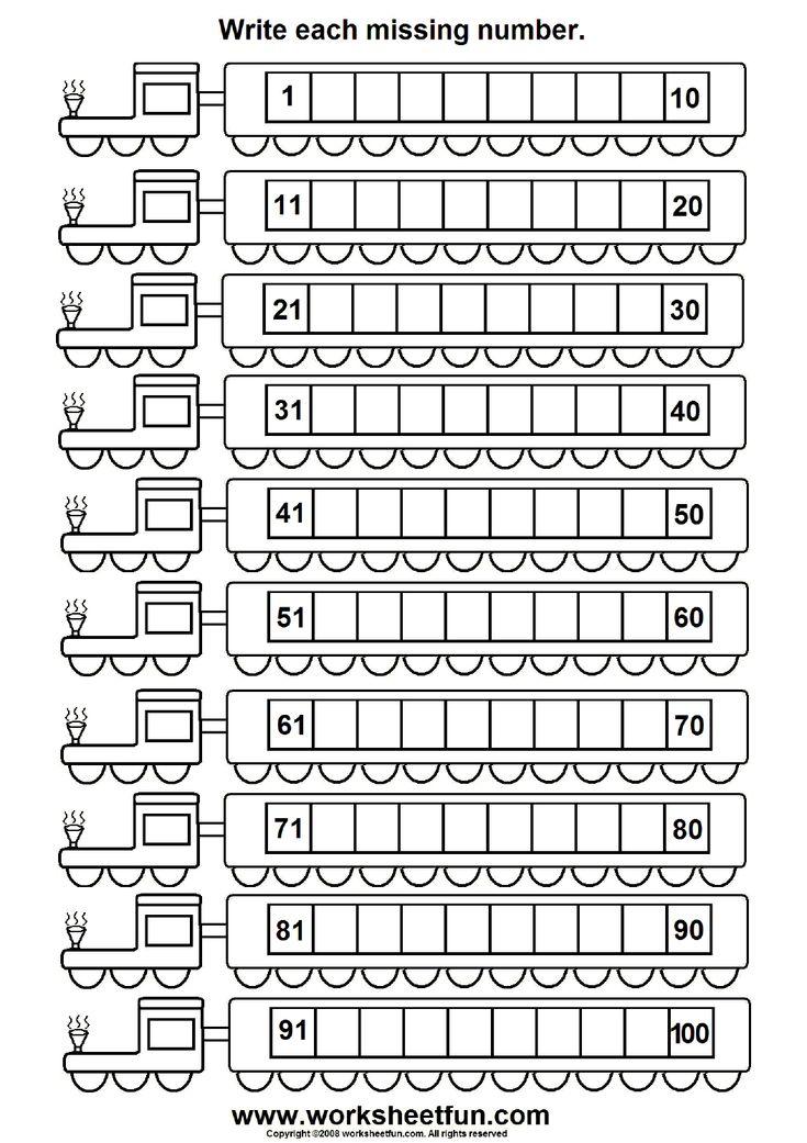 Missing numbers (1 100) 6 Worksheets Printable