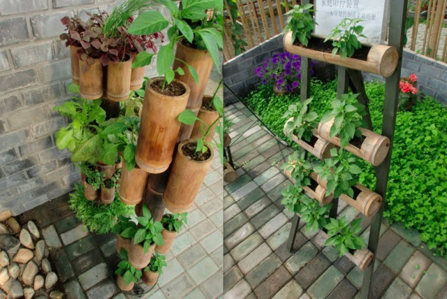 Create your own stacked planters from bamboo. We have the