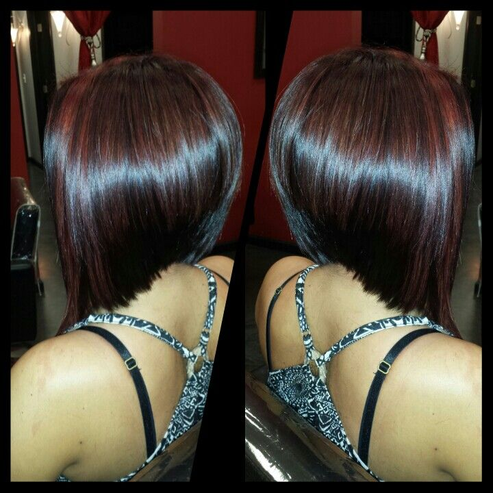 Dark Red Violet With Red Highlights And Graduated Bob