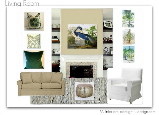 Living Room Design, Green, Blue, Beige And Gray