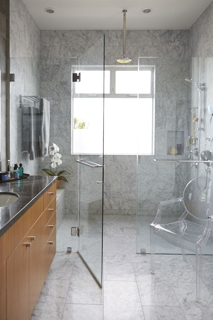 Handsome Master Bathroom In Light And Dark Gray Marble