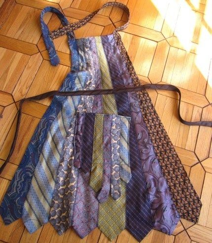 Neck Tie Apron – interesting use of neck ties…I would wash them before making the apron to make sure they would hold up.
