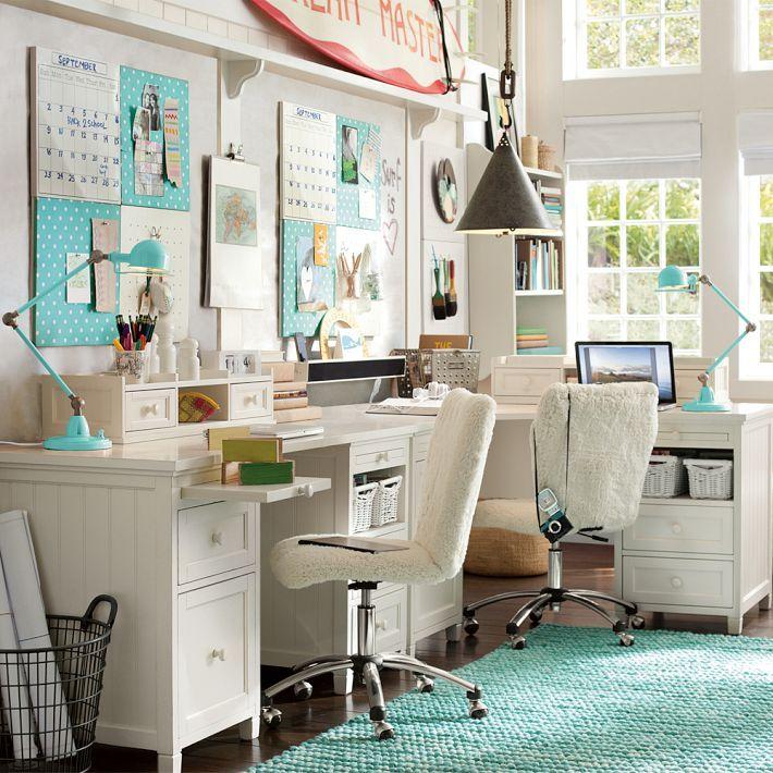 Pottery Barn beadboard desk set up Sewing Studio
