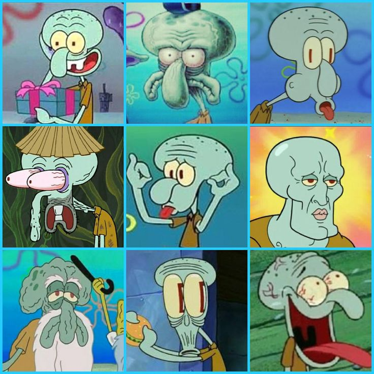 The many faces of Squidward Tentacles Funny Pinterest