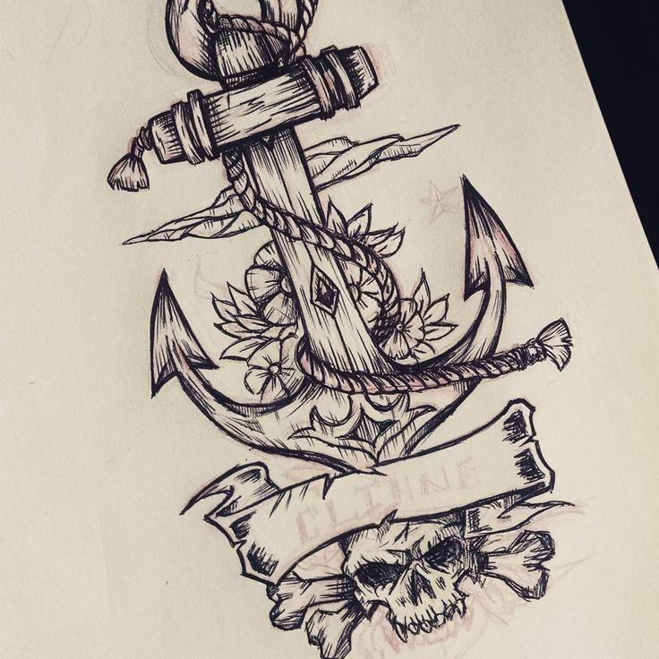 """""""Trabajando, creando diseños... Drawing ancla tattoo"""