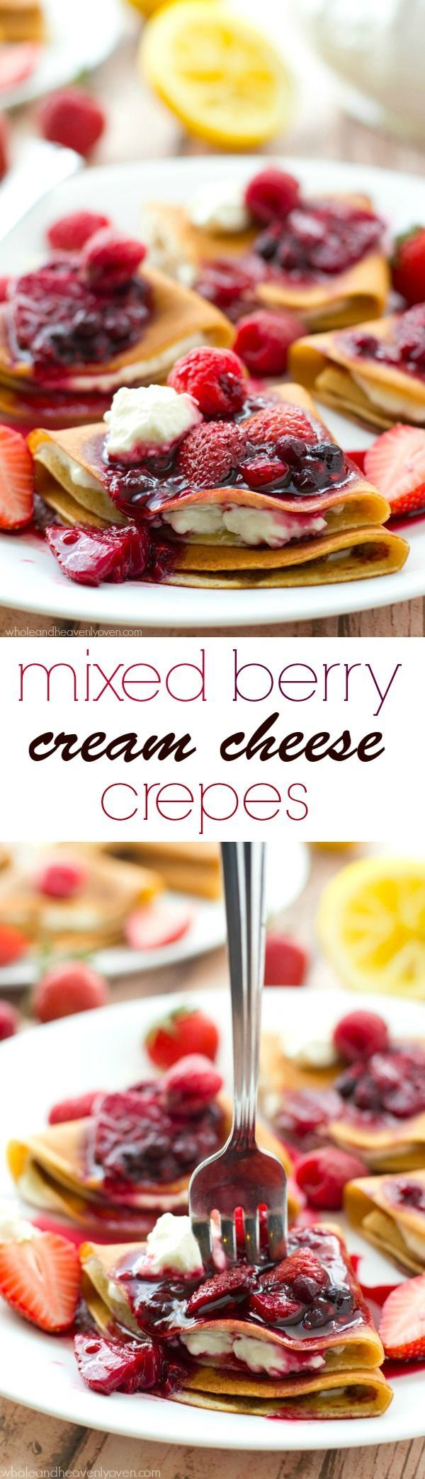 Filled with a tangy lemon cream cheese and topped with an unbelievable triple-berry sauce, these stunning crepes are a dream for
