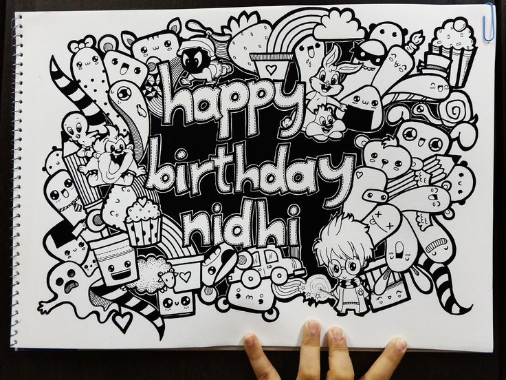 Doodle Happy Birthday Nidhi by Pic Candle Doodles