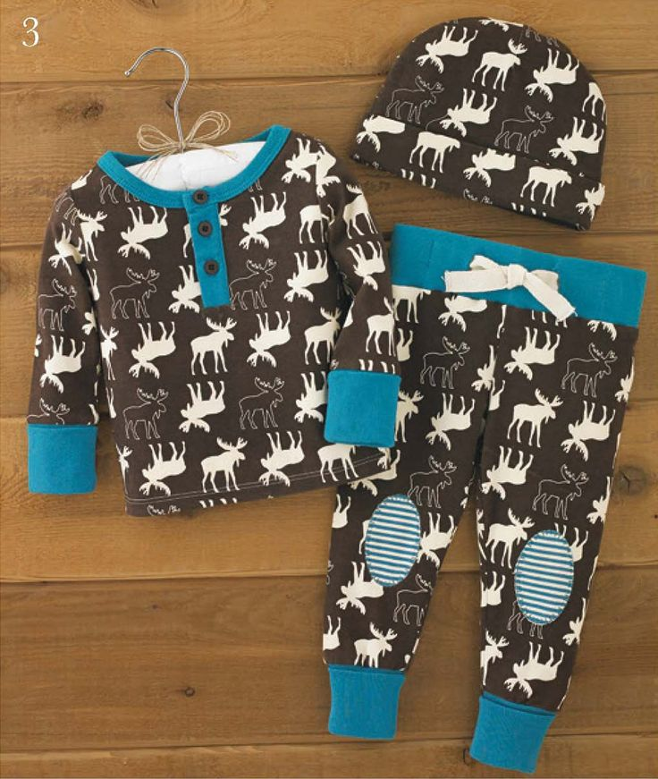 A darling first outfit for baby boy, this newborn 3-piece cotton pajama set features an all-over moose pattern to bring baby into